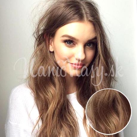 Clip-in vlasy Premium, Popolavohnedá